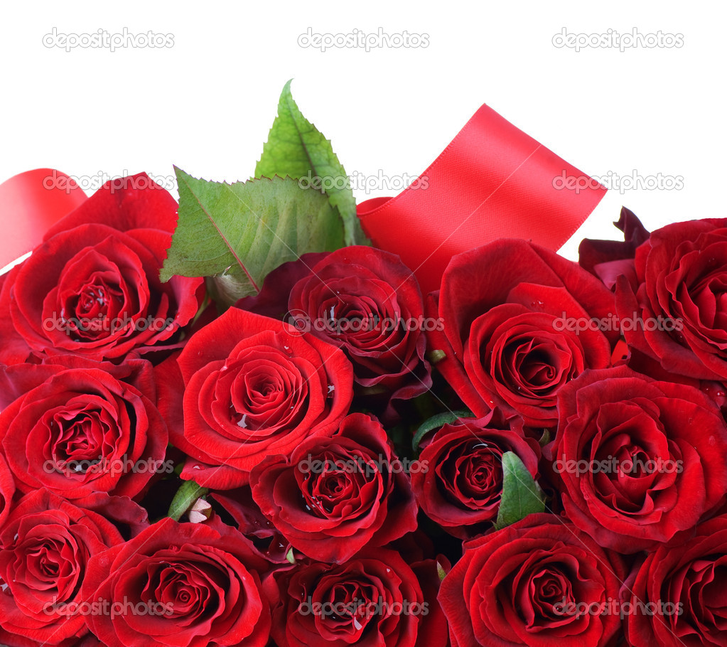 红玫瑰花束边框.鲜花