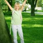 Happy School Girl Outdoor — Stock Photo #10746728