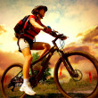 Happy Young Woman riding bicycle outside. Healthy Lifestyle — ストック写真