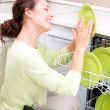 Dishwasher. Young woman in the Kitchen doing Housework. Wash-up - Stock fotografie