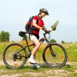 Happy Young Woman riding bicycle outside. Healthy Lifestyle - Foto Stock