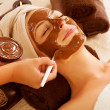 Foto Stock: Chocolate Mask Facial Spa. Beauty Spa Salon