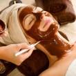 Chocolate Mask Facial Spa Applying — Stock Photo