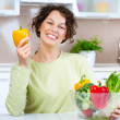 Beautiful Young Woman with healthy food — Stock Photo