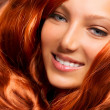 Hair. Beautiful Girl With Healthy Long Red Curly Hair — Stock Photo #12801478
