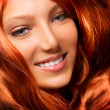 Beautiful Girl With Healthy Long Red Curly Hair. Extension — ストック写真