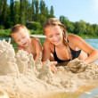 Happy kids Having Fun at the Beach in summer. River - Stock Photo