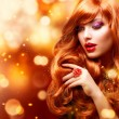Golden Fashion Girl Portrait. Wavy Red Hair — Stock Photo #12801894