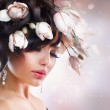 Fashion Brunette Girl with Magnolia. Hairstyle — Stock Photo