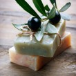 Handmade Olive Soap. Organic Cosmetics - Stock Photo