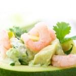 Avocado and Shrimps Salad. Close-up image — Stock Photo