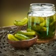 Gherkins. Pickles. Salted Cucumbers still-life - Foto Stock