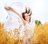 Beautiful Happy Girl on the Wheat Field — Stock Photo
