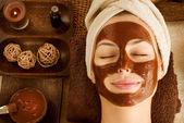 Spa facial máscara de chocolate — Foto Stock