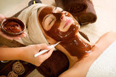 Chocolate Mask Facial Spa Applying — Stock Photo