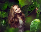 Beautiful Girl in Jungle — Stock Photo