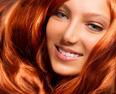 Hair. Beautiful Girl With Healthy Long Red Curly Hair — Stock Photo