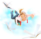 Back to School. Schoolgirl Flying With Her Books and Notebooks — Foto de Stock