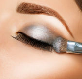 Make-up. Eyeshadows. Eye shadow brush — Zdjęcie stockowe