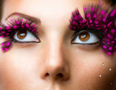 Fashion False Eyelashes. Stylish Makeup — 图库照片