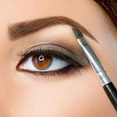 Make-up. maquiagem sobrancelha. olhos castanhos — Foto Stock