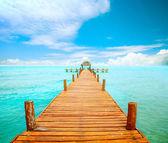 Vakanties en toerisme concept. steiger op isla mujeres, mexico — Stockfoto