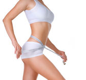 Woman measuring her waistline. Perfect Slim Body — Stock Photo