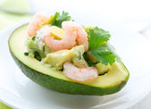 Avocado and Shrimps Salad. Appetizer — Stock Photo