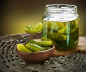 Gherkins. Pickles. Salted Cucumbers still-life — Stockfoto