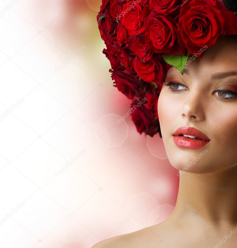 Fashion Model Portrait with Red Roses Hair  — Stock Photo #12801670