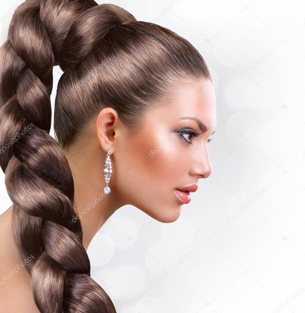 lange gesunde haare sch ne frau portr t mit langen braunen haaren stockfoto subbotina 12801933. Black Bedroom Furniture Sets. Home Design Ideas