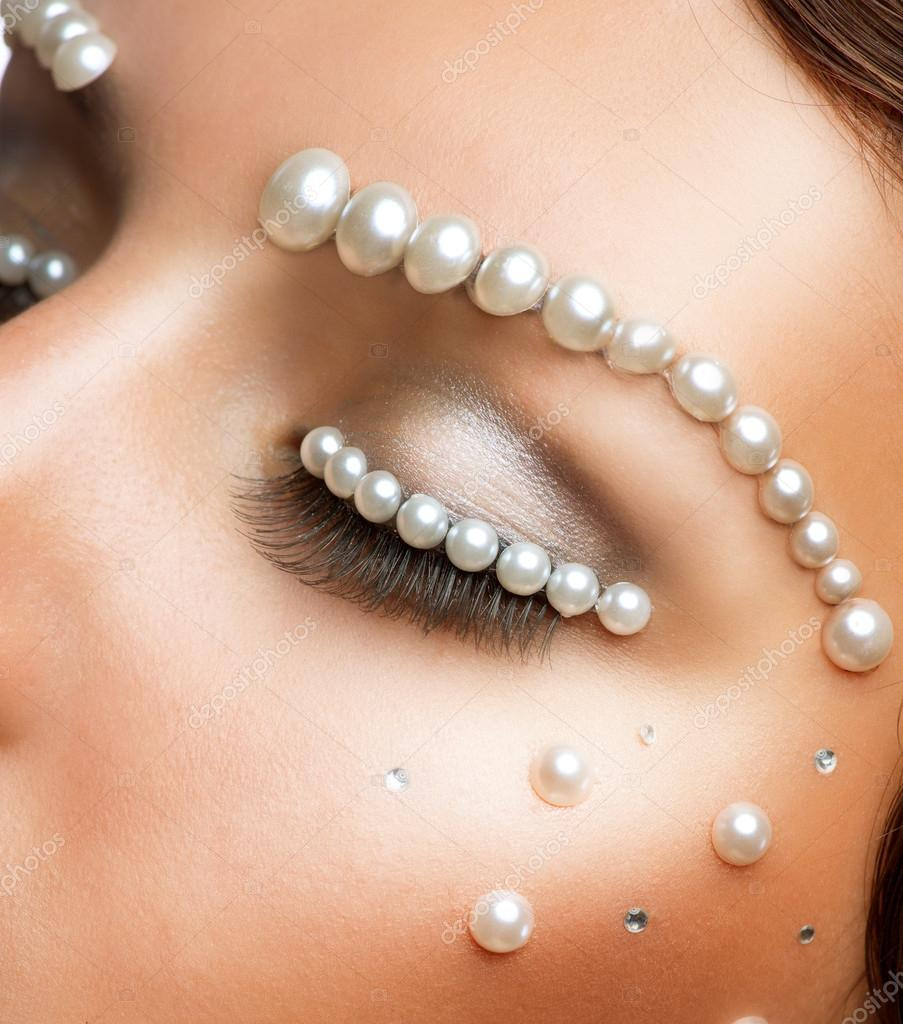 Creative Makeup With Pearls. Beautiful Young Woman ...