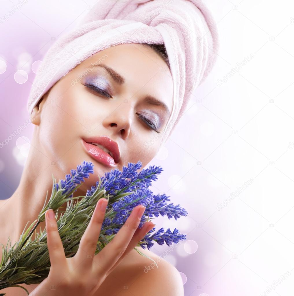 Spa Girl with Lavender Flowers. Beautiful Young Woman After Bath  Stock Photo #12802135