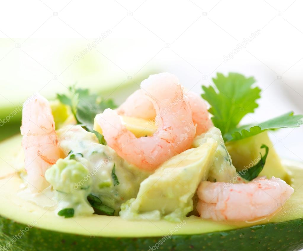 Avocado and Shrimps Salad. Close-up image   Stock Photo #12802794