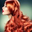 Stock Photo: Fashion Red Haired Girl Portrait