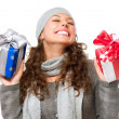 Happy Young Woman With Christmas Gifts. Gift Box - Foto de Stock  