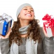 Happy Young Woman With Christmas Gifts. Gift Box - Lizenzfreies Foto