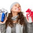 ευτυχισμένη κοπέλα με Χριστουγεννιάτικα δώρα. συσκευασία δώρου — Φωτογραφία Αρχείου
