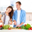 Happy Couple Cooking Together. Dieting. Healthy Food — Стоковое фото