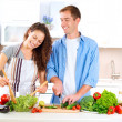 Happy Couple Cooking Together. Dieting. Healthy Food — Stock Photo #14134325