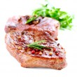 Meat. Grilled Beef Steak Isolated on White - Foto Stock