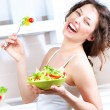 Diet. Healthy Young Woman Eating Vegetable Salad — Stock Photo