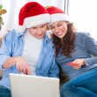 Christmas Online Shopping. Couple Using Credit Card to E-Shop — ストック写真