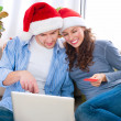Christmas Online Shopping. Couple Using Credit Card to E-Shop — Stockfoto