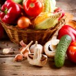 Healthy Organic Vegetables on a Wood Background — Stock Photo #14134435