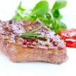 Meat. Grilled Beef Steak Isolated on White - 图库照片