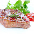 Stock Photo: Meat. Grilled Beef Steak Isolated on White