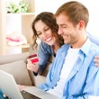 Online Shopping. Couple Using Credit Card to Internet Shop — Stock Photo #14134505