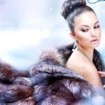 γυναίκα χειμώνα σε πολυτελές γούνινο παλτό — Φωτογραφία Αρχείου
