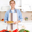 Young Man Cooking Pizza. Home. Kitchen — Stock Photo